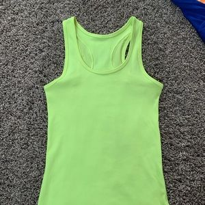 Neon yellow Under Armor ribbed workout tank